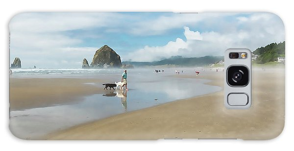 Dog Walking At Cannon Beach Galaxy Case