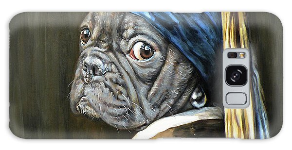 Girl With A Pearl Earring Galaxy Case - Dog With A Pearl Earring by Leigh Banks