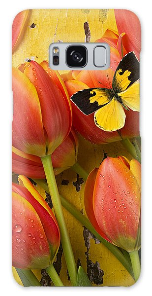 Beautiful Galaxy Case - Dogface Butterfly And Tulips by Garry Gay
