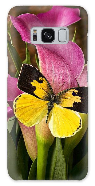 Dogface Butterfly On Pink Calla Lily  Galaxy Case