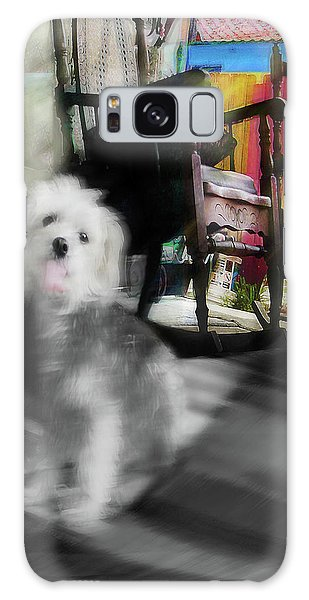 Dogie In The Patio Art  Galaxy Case