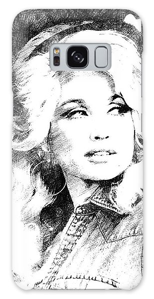Dolly Parton Bw Portrait Galaxy Case by Mihaela Pater
