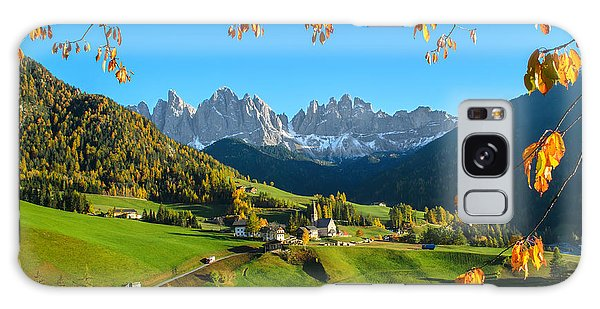 Dolomites Mountain Village In Autumn In Italy Galaxy Case by IPics Photography