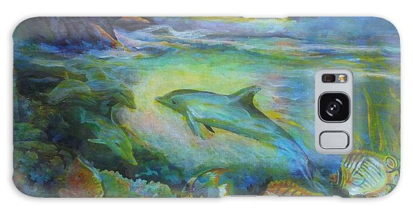 Galaxy Case featuring the painting Dolphin Fantasy by Denise Fulmer