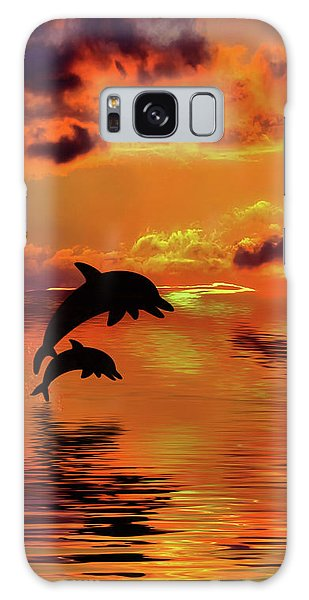 Galaxy Case featuring the digital art Dolphin Silhouette Sunset By Kaye Menner by Kaye Menner