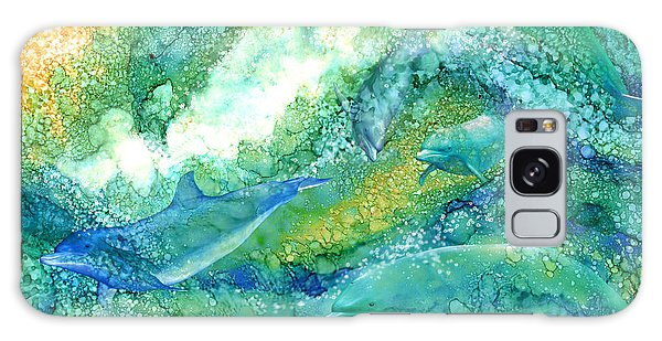 Galaxy Case featuring the mixed media Dolphin Waves 2 by Carol Cavalaris
