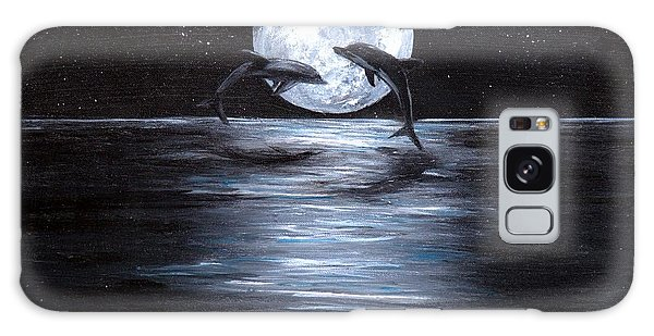Dolphins Dancing Full Moon Galaxy Case by Bernadette Krupa