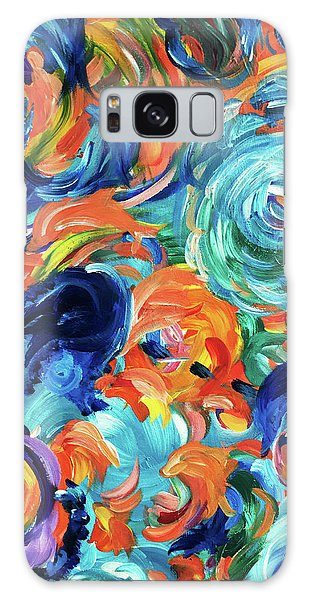 Dolphins Playing In Peonies Galaxy Case