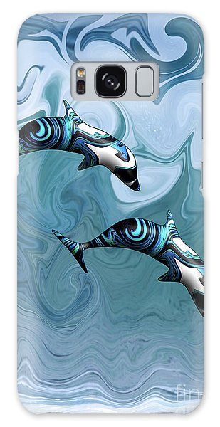 Dolphins Playing In The Waves Galaxy Case
