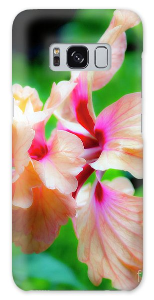 Double Peach Hibiscus Two Galaxy Case