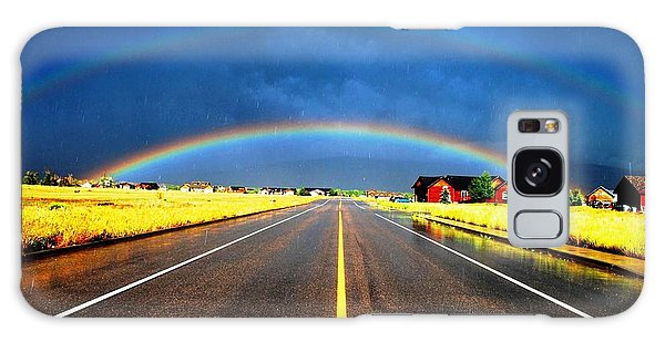 Double Rainbow Over A Road Galaxy Case