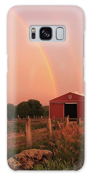 Double Rainbow Over Red Barn Galaxy Case by John Burk
