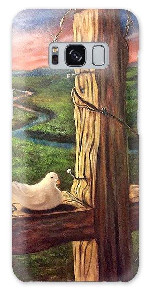 Dove On A Cross  Paloma  En Una Druz Galaxy Case by Randy Burns