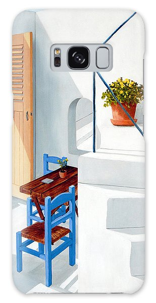 Downstairs In Santorini - Prints Of Original Oil Painting Galaxy Case