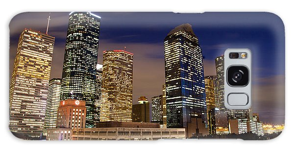 Downtown Houston At Night Galaxy Case