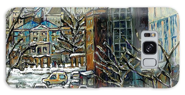 Downtown Montreal Memories Winter City Scene Mcgill Paintings Canadian Art Carole Spandau            Galaxy Case
