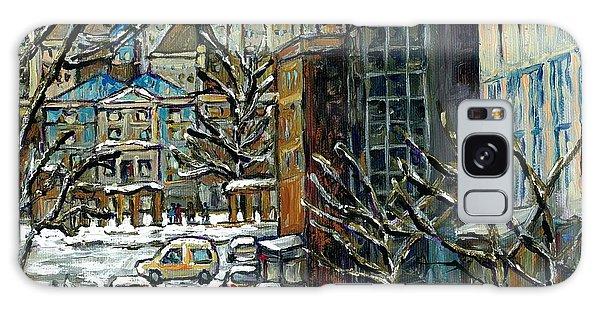 Downtown Montreal Memories Winter City Scene Mcgill Paintings Canadian Art Carole Spandau            Galaxy Case