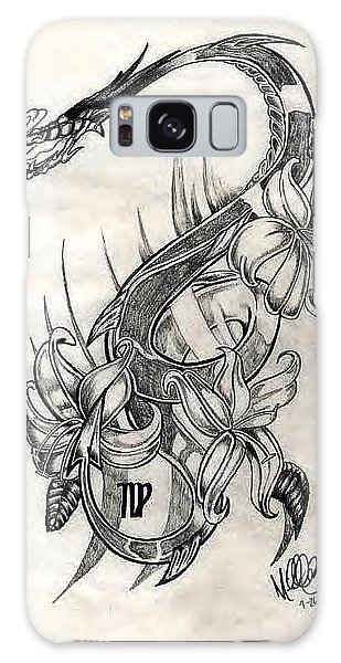 Galaxy Case featuring the drawing Dragon by Michelle Dallocchio