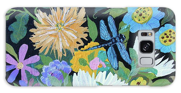 Galaxy Case featuring the painting Dragonfly And Flowers by Robin Maria Pedrero