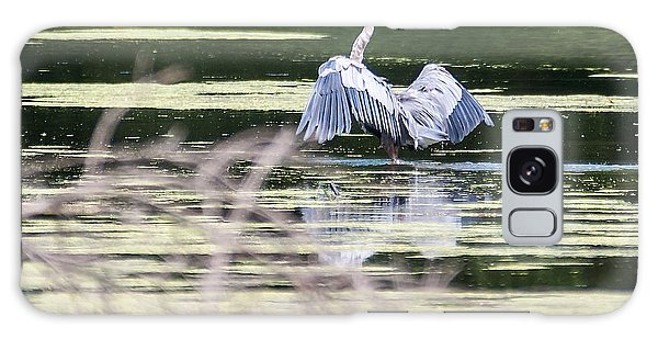 Dragonfly And Great Blue Heron Galaxy Case by Edward Peterson