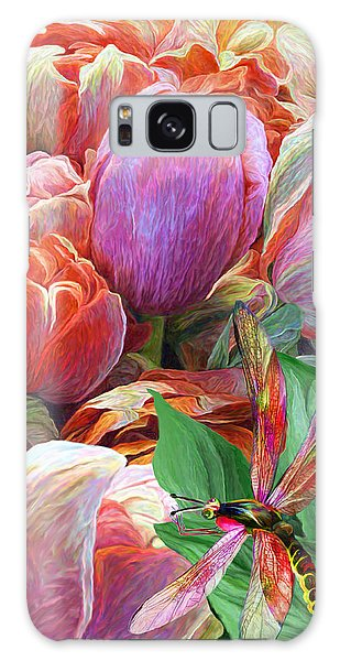 Galaxy Case featuring the mixed media Dragonfly And Tulips 2 by Carol Cavalaris