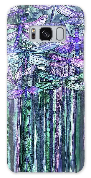 Galaxy Case featuring the mixed media Dragonfly Bloomies 2 - Lavender Teal by Carol Cavalaris