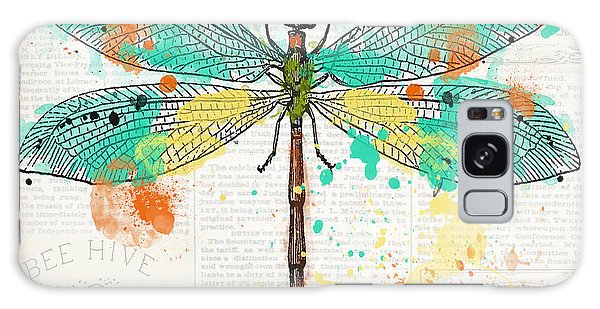 Wall Paper Galaxy Case - Dragonfly On Newsprint-jp3451 by Jean Plout