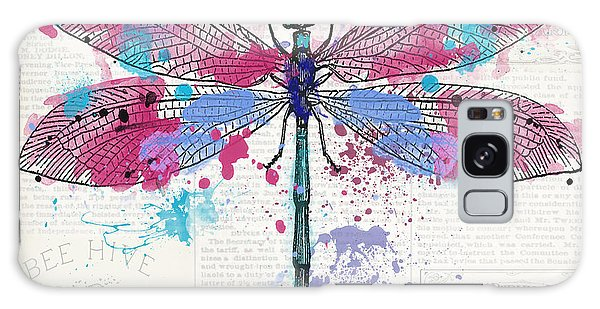 Wall Paper Galaxy Case - Dragonfly On Newsprint-jp3453 by Jean Plout
