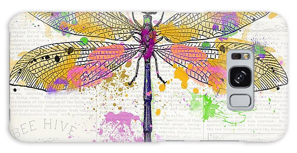 Wall Paper Galaxy Case - Dragonfly On Newsprint-jp3454 by Jean Plout