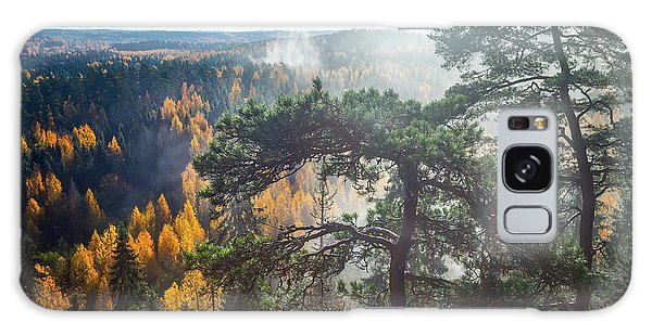 Dramatic Autumn Forest With Trees On Foreground Galaxy Case