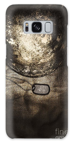 Rusty Chain Galaxy Case - Dramatic Dog Tags And Military Helmet Still Life by Jorgo Photography - Wall Art Gallery
