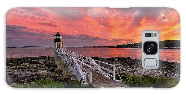 Dramatic Sunset At Marshall Point Lighthouse Galaxy Case