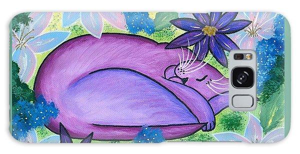 Dreaming Sleeping Purple Cat Galaxy Case