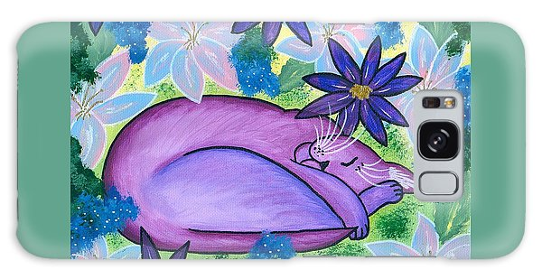 Dreaming Sleeping Purple Cat Galaxy Case by Carrie Hawks
