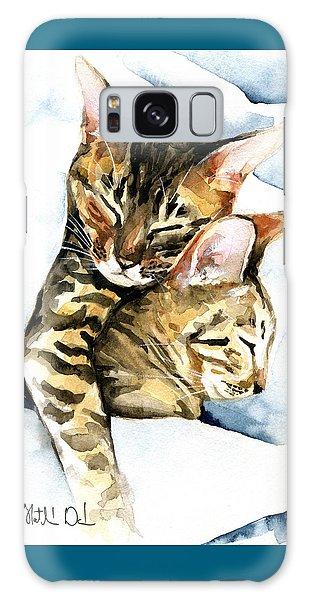 Dreamland - Bengal And Savannah Cat Painting Galaxy Case
