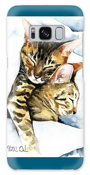 Dreamland - Bengal And Savannah Cat Painting Galaxy Case