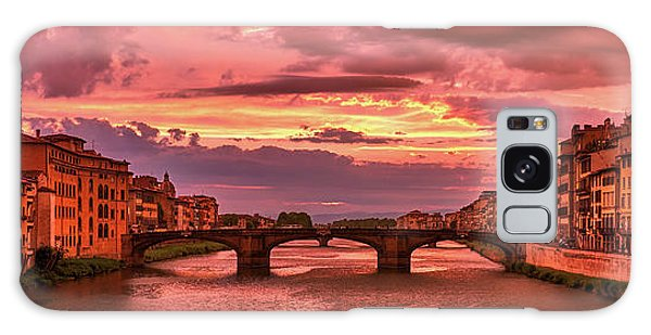 Saint Trinity Bridge From Ponte Vecchio At Red Sunset In Florence, Italy Galaxy Case