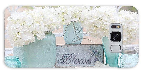 White Hydrangeas Cottage Decor- Shabby Chic White Hydrangeas In Aqua Blue Teal Mason Ball Jars Galaxy Case