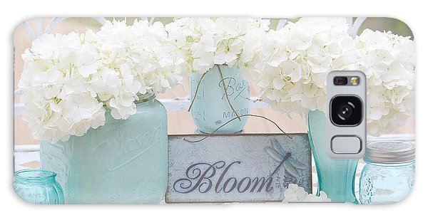 Dreamy White Hydrangeas - Shabby Chic White Hydrangeas In Aqua Blue Teal Mason Ball Jars Galaxy Case