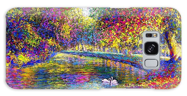 Drifting Beauties, Swans, Colorful Modern Impressionism Galaxy Case