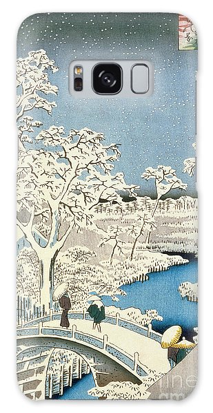 Drum Galaxy S8 Case - Drum Bridge And Setting Sun Hill At Meguro by Hiroshige