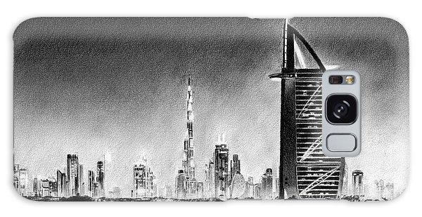 Dubai Cityscape Drawing Galaxy Case