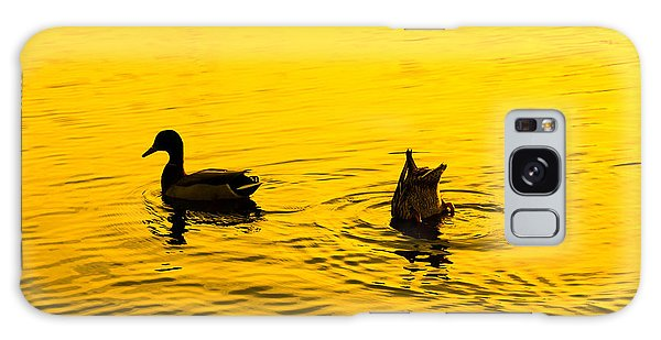 Galaxy Case featuring the photograph Ducks At Sunset by SR Green