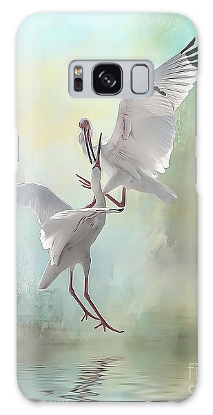 Duelling White Ibises Galaxy Case