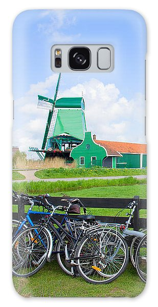 dutch windmills with bikes in Zaanse Schans Galaxy Case