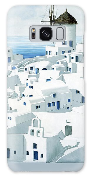 Dwellings, Santorini - Prints From Original Oil Painting Galaxy Case
