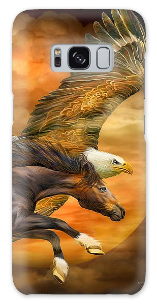 Galaxy Case featuring the mixed media Eagle And Horse - Spirits Of The Wind by Carol Cavalaris