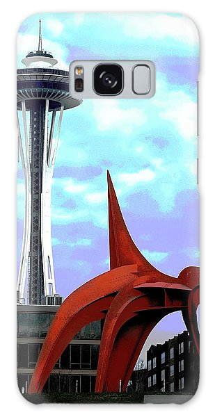 Galaxy Case featuring the photograph Eagle And Space Needle Seattle by Yulia Kazansky