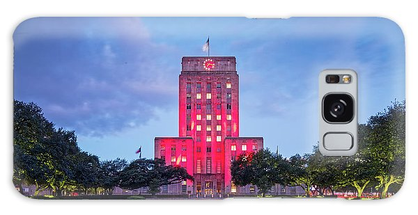 Early Dawn Architectural Photograph Of Houston City Hall And Hermann Square - Downtown Houston Texas Galaxy Case