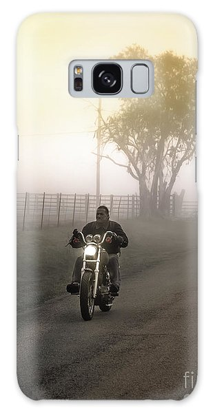 Early Rider In Fog Galaxy Case by Robert Frederick